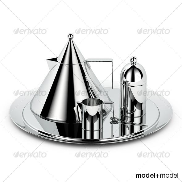 3DOcean Alessi il conico tea set 124379