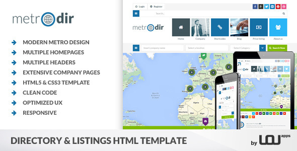 ThemeForest Metrodir Directory & Listings HTML Template 9787452
