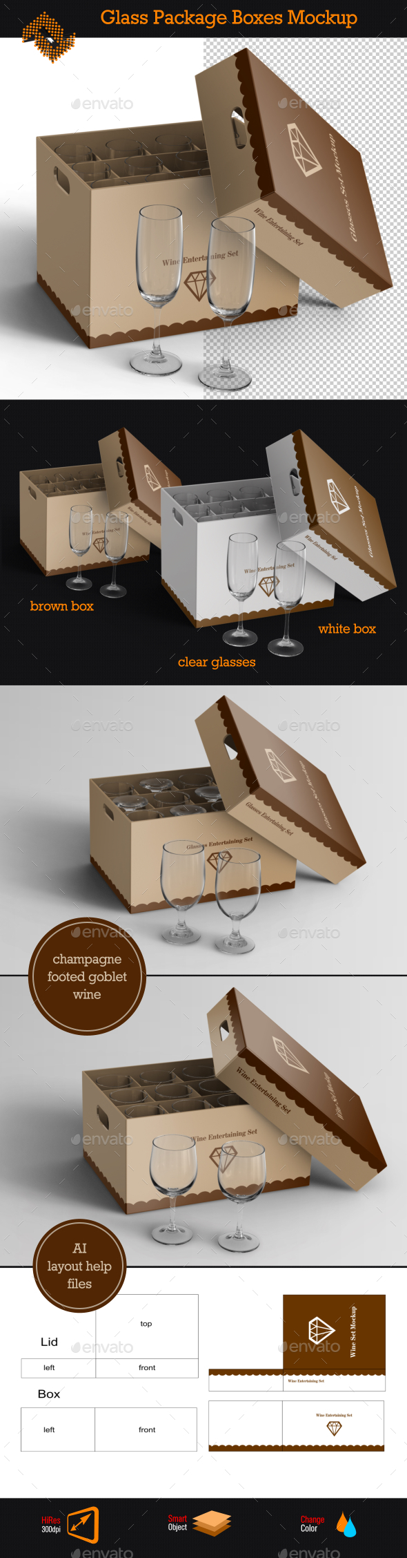 GraphicRiver Glass Package Boxes Mockup 9787461