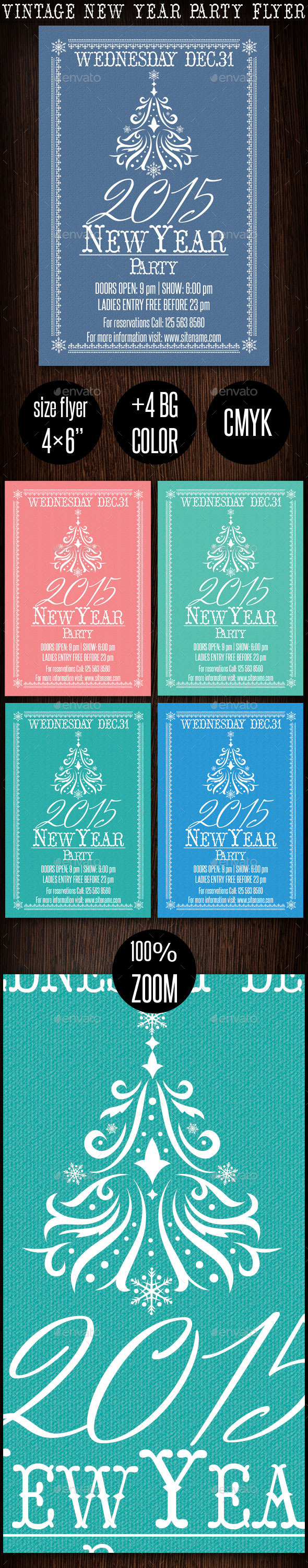 GraphicRiver Vintage New Year Party Flyer 2015 9787479