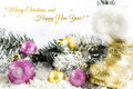 Christmas balls with tree branch, snow and wishes - PhotoDune Item for Sale