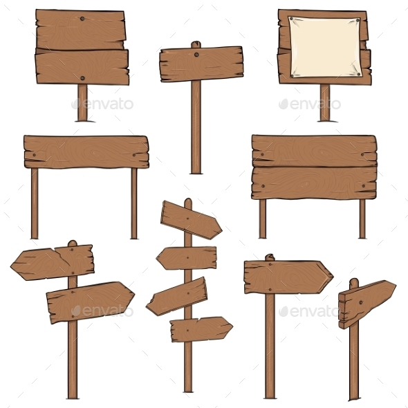 Set of Cartoon Signposts