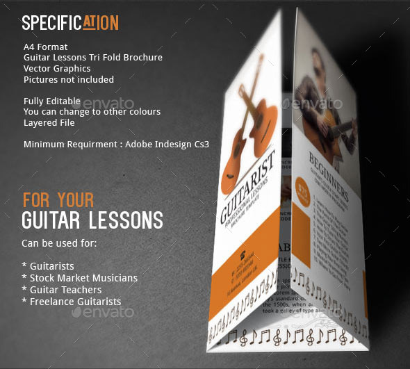 Guitar Lessons Brochure Template by Adburst – Music Brochure