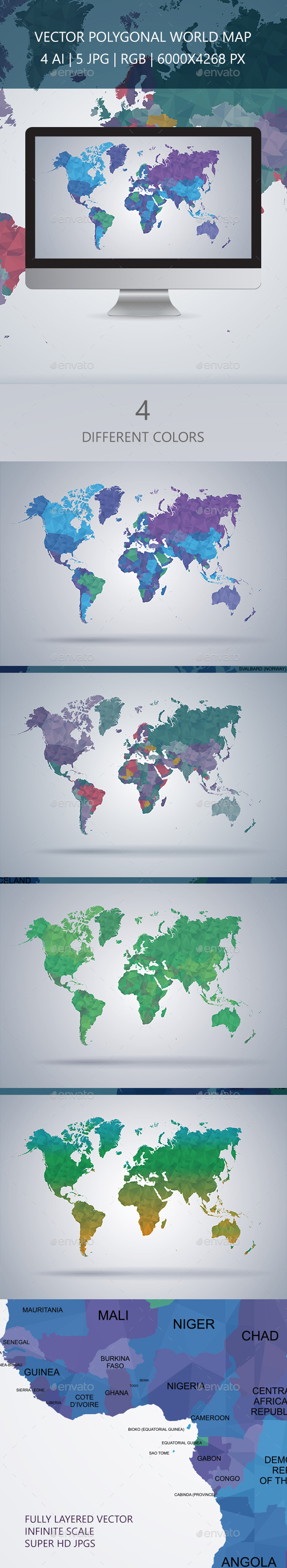 GraphicRiver World Map Polygon Vector 9788388