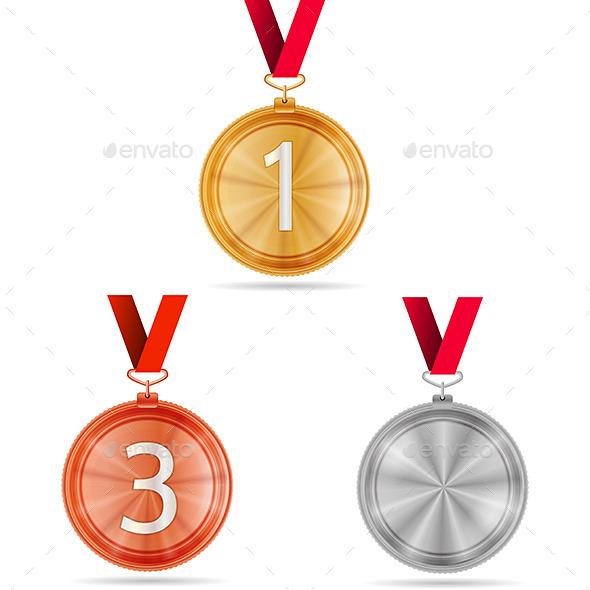 Vector Illustration of Winner Medals