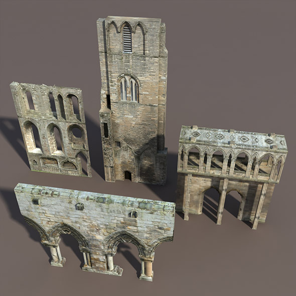 3DOcean Castle Ruin Pack Low poly 3D Model 9788464