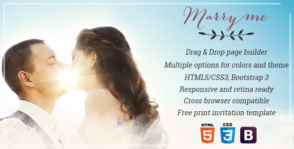 MARRY ME – ELEGANT WEDDING & CELEBRATION WORDPRESS TEMPLATE Marry Me is a simple and flexible wedding & celebration Worpress template for couples