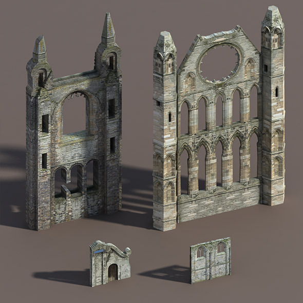 3DOcean Castle Ruin Pack Low poly 3D Model 9788655