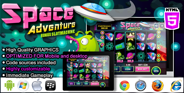CodeCanyon Slot Machine Space Adventure Casino HTML5 game 9788842
