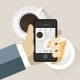 Smartphone Taking Photo of Coffee and Croissant - GraphicRiver Item for Sale