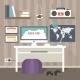 Flat Design Workspace - GraphicRiver Item for Sale
