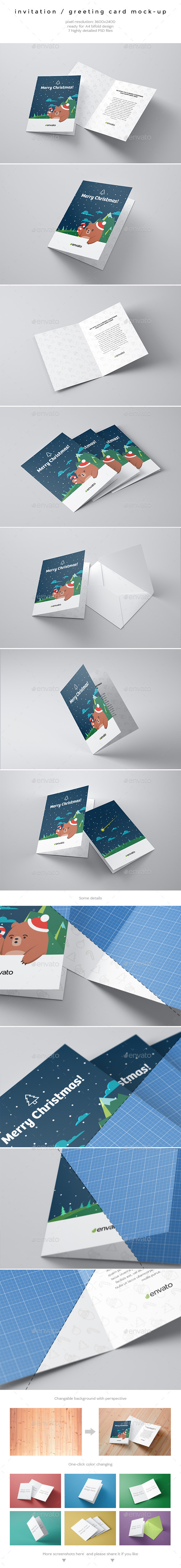 GraphicRiver Invitation Greeting Card Mock-Up 9789347