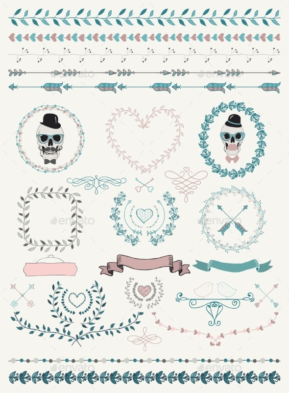GraphicRiver Hand-Drawn Seamless Borders and Design Elements 9789351
