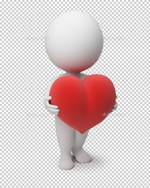 3D Small People Heart