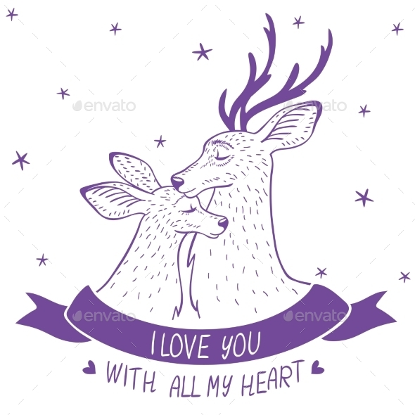 GraphicRiver Deer Couple Silhouette 9789706