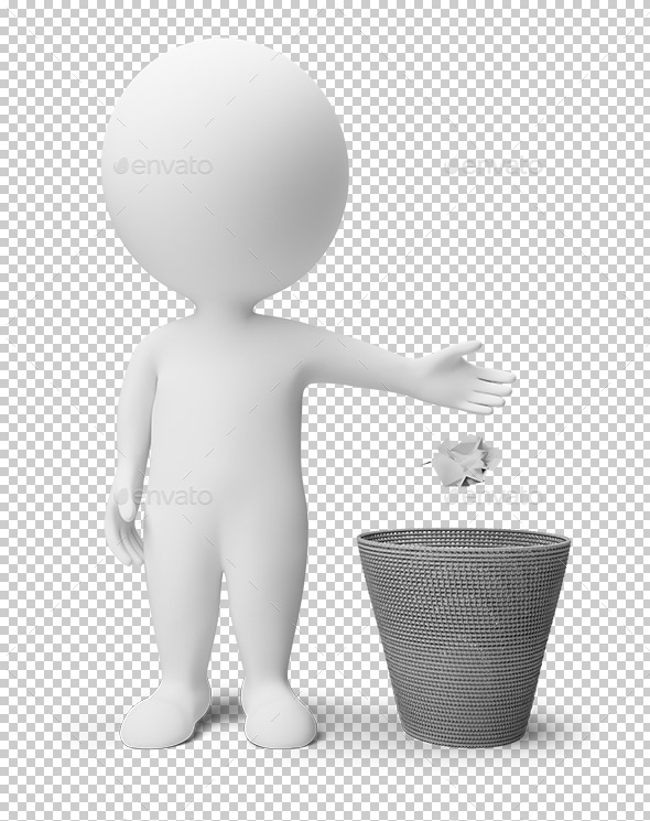 3D Small People Garbage Basket