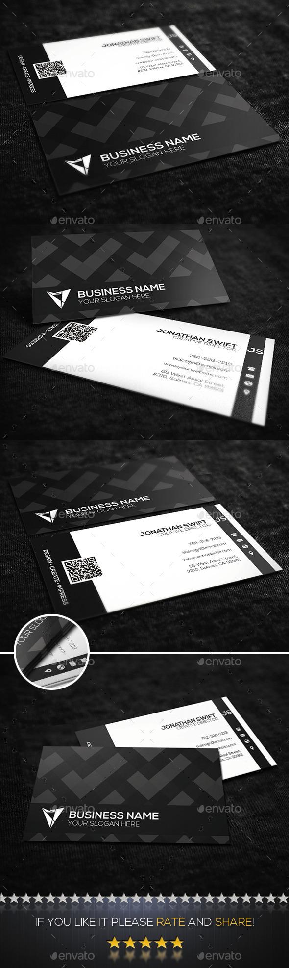 GraphicRiver Black & White Corporate Business Card No.01 9790023