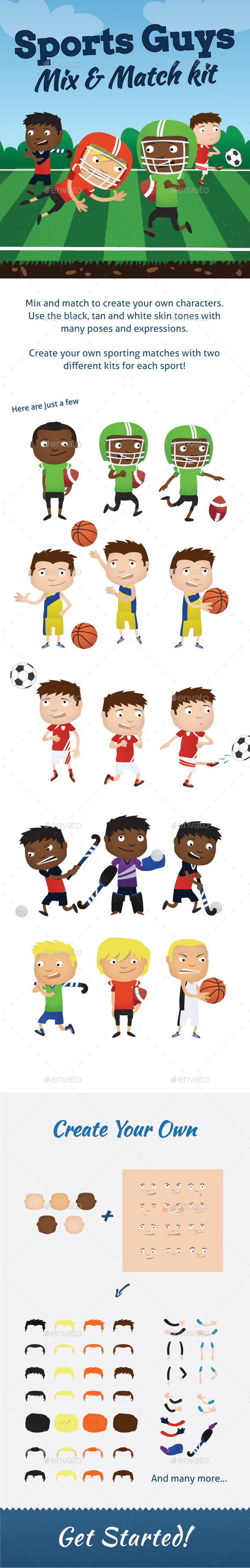 GraphicRiver Sports Guys Mix and Match Kit 9612486