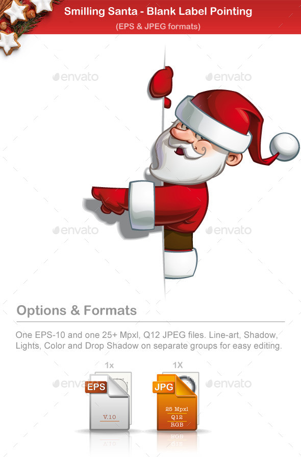 GraphicRiver Smilling Santa Pointing at a Blank Label 9791360