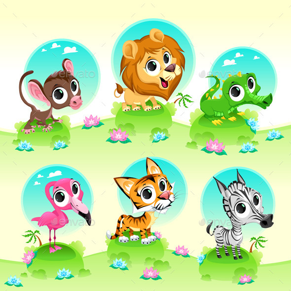 GraphicRiver Wild Animals with Background 9791431