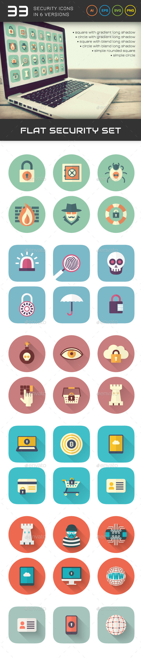 GraphicRiver Flat Security Set 9791648