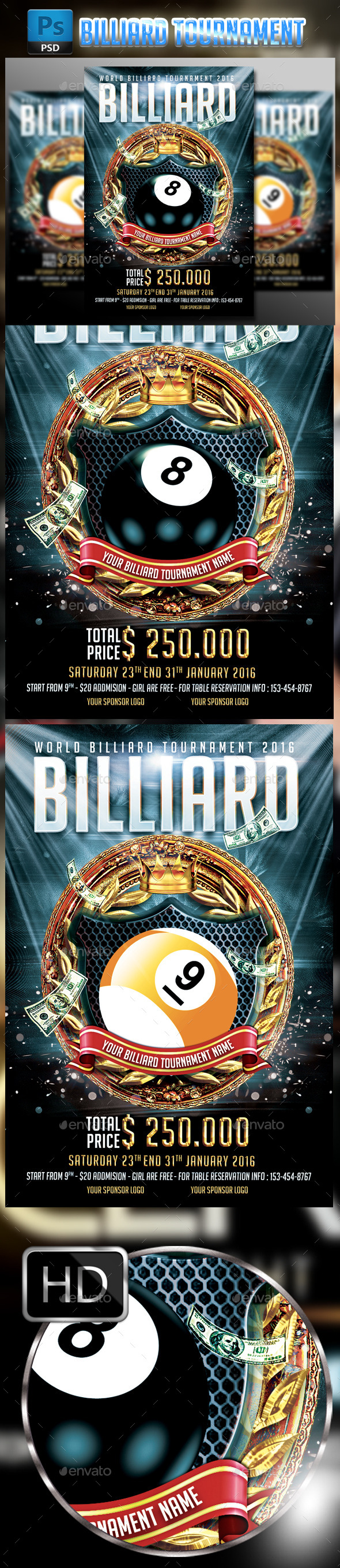 GraphicRiver Billiard Tournament Flyer Template 9791663