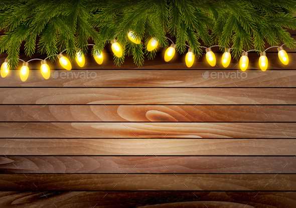 GraphicRiver Christmas Wooden Background with Branches 9791679