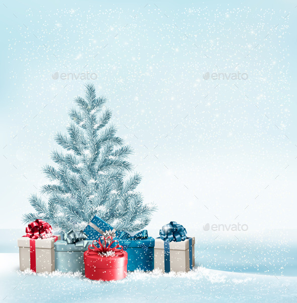 GraphicRiver Christmas Tree with Presents Background 9791705