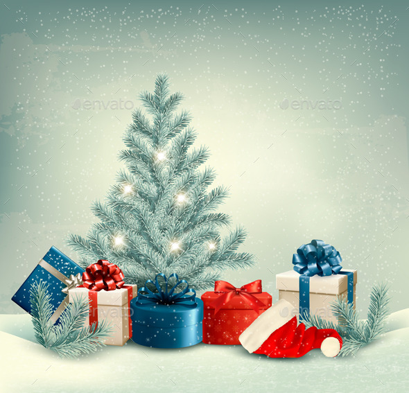 GraphicRiver Winter Background of Christmas Tree with Presents 9791721
