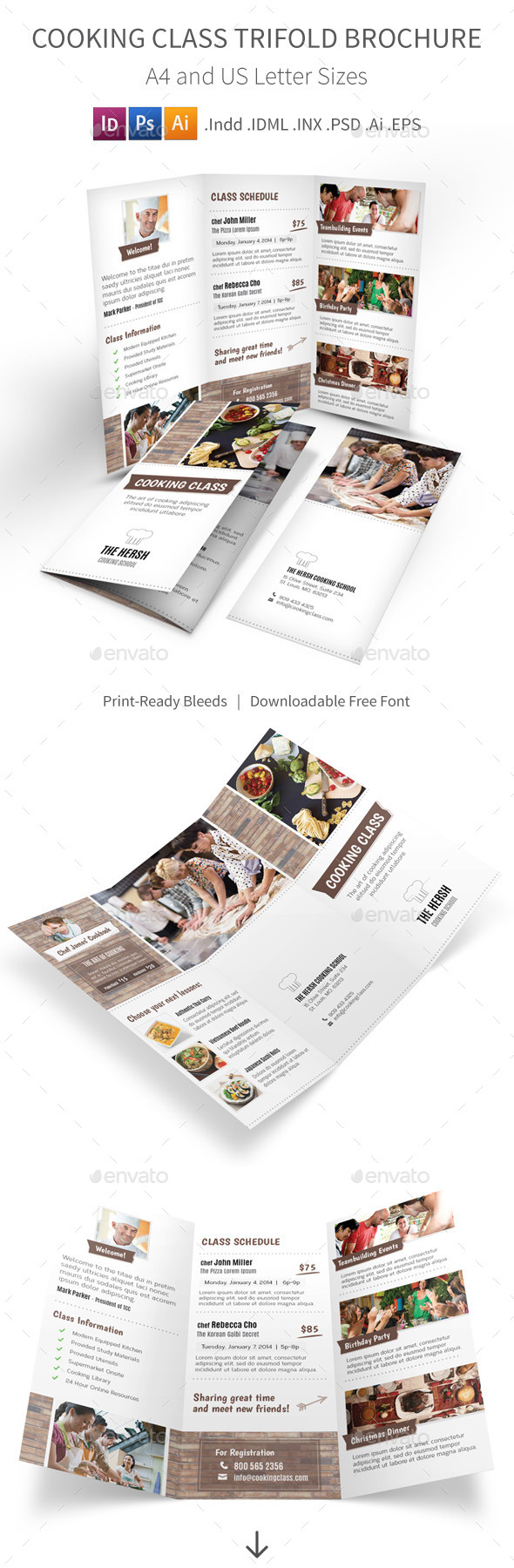 GraphicRiver Cooking Class School Trifold Brochure 9791731