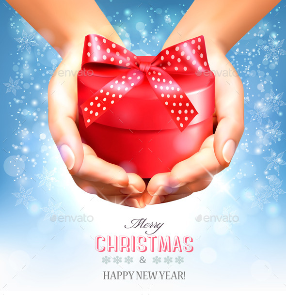 GraphicRiver Holiday Christmas Background with Hands 9791736
