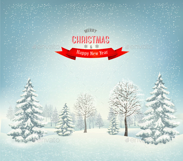 GraphicRiver Christmas Winter Landscape Background 9791931