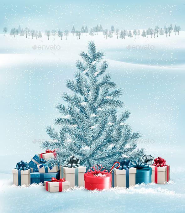 GraphicRiver Winter Landscape with a Tree and Gift Boxes 9791954