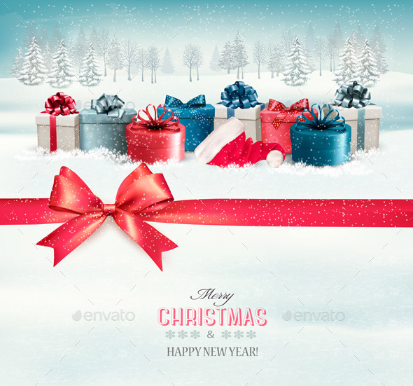 GraphicRiver Holiday Christmas Background with Colorful Boxes 9791970