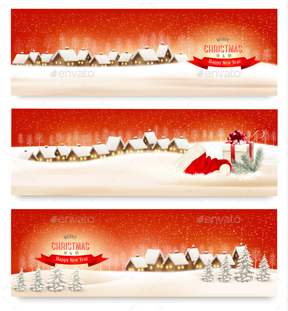 GraphicRiver Holiday Christmas Banners with Villages 9791975