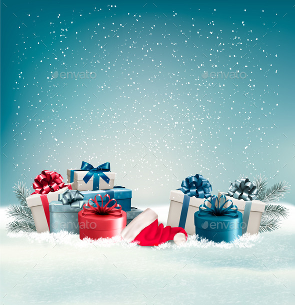 GraphicRiver Winter Background with Presents 9791978