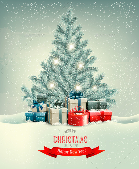 GraphicRiver Christmas Tree with Presents Background 9791981