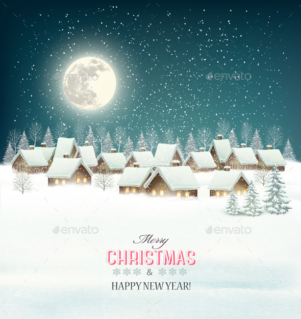 GraphicRiver Winter Village Night Background 9791985