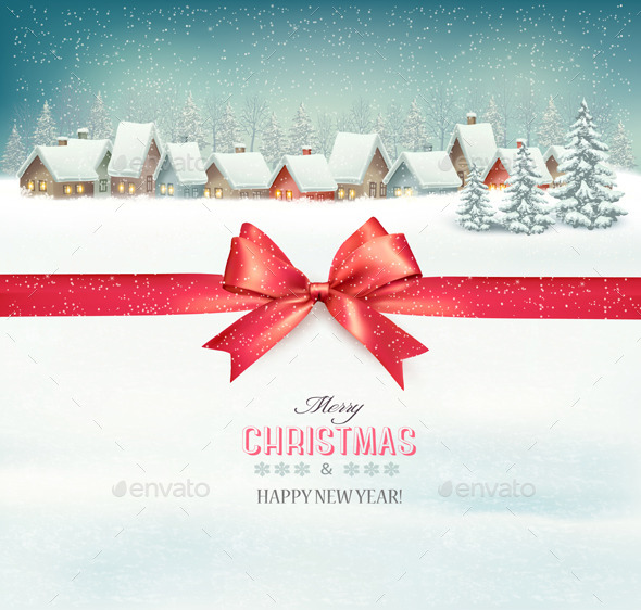 GraphicRiver Holiday Christmas Background with a Village 9791997