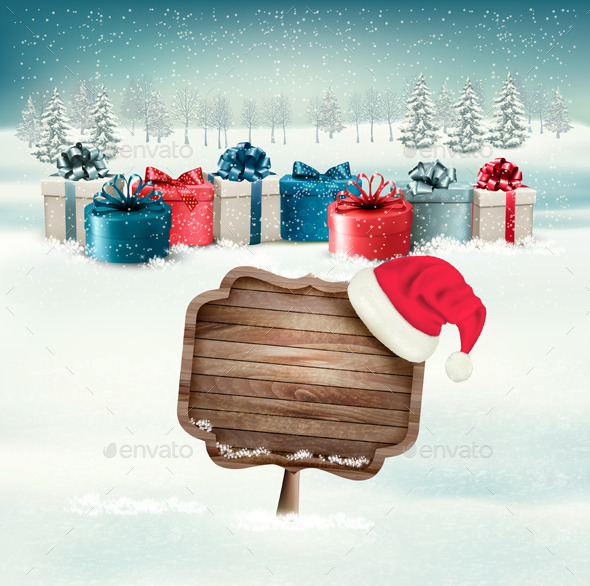 GraphicRiver Winter Background with Gift Boxes and Sign 9792003
