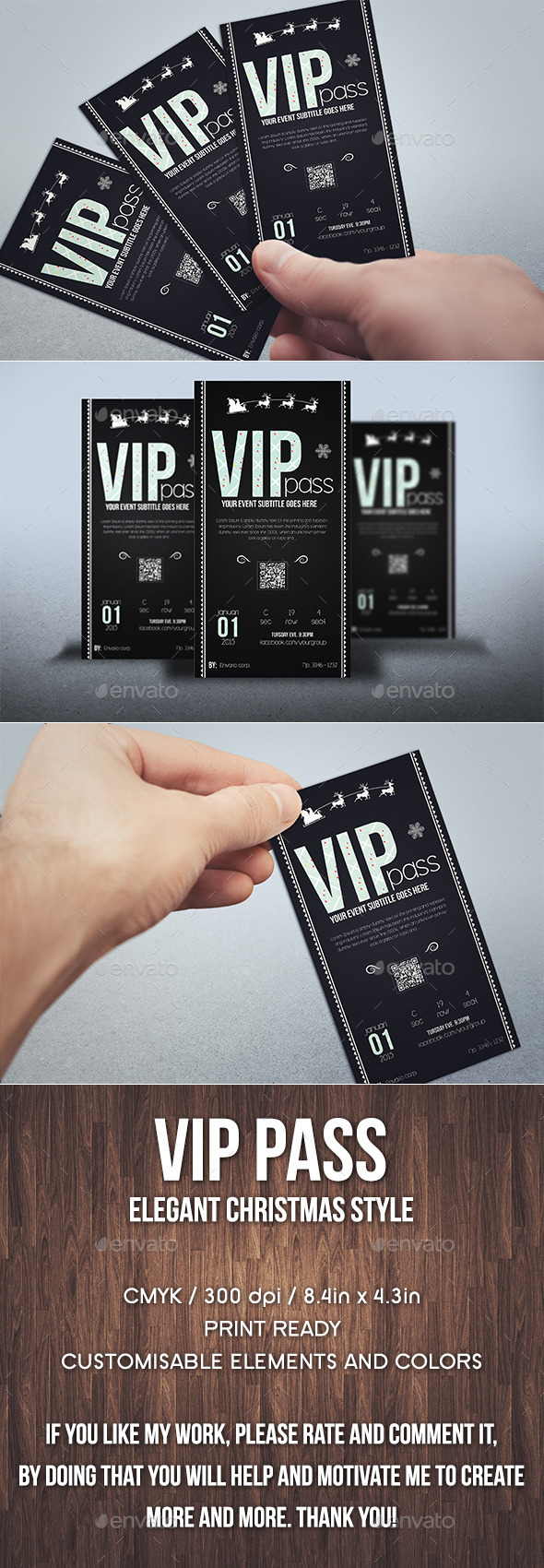 GraphicRiver Elegant christmas vip pass card 9792017