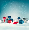 Winter background with presents.  - PhotoDune Item for Sale