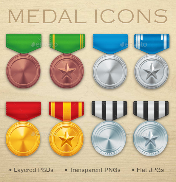 GraphicRiver Military Medal Icons 9792061