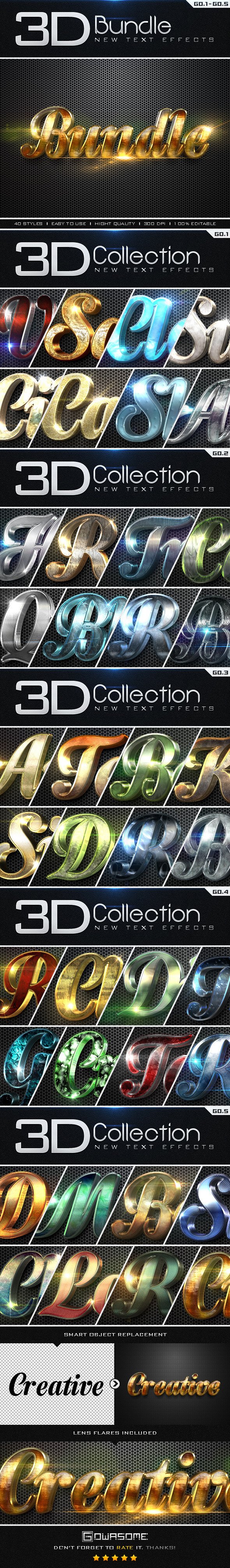 GraphicRiver New 3D Collection Text Effects Bundle 9792352