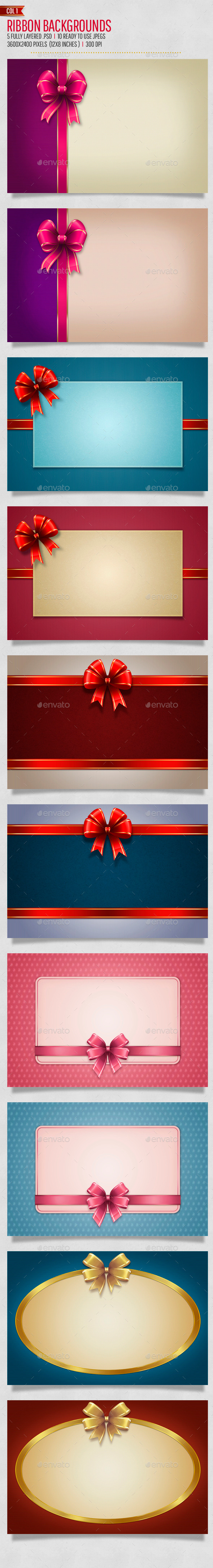 GraphicRiver Bow Ribbon Backgrounds Col1 9792717