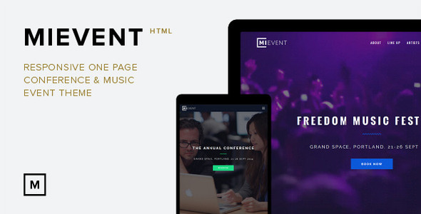 MiEvent- Responsive Parallax Event & Music Theme Download