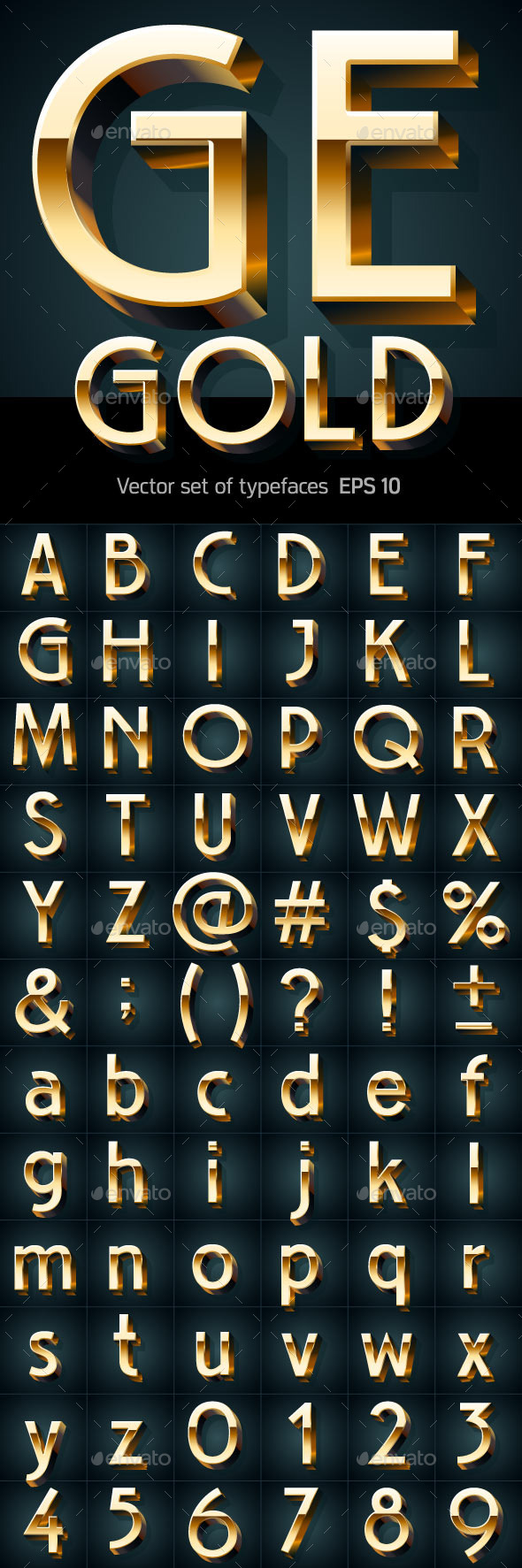 GraphicRiver Illustration of Golden 3D Alphabet 9793393