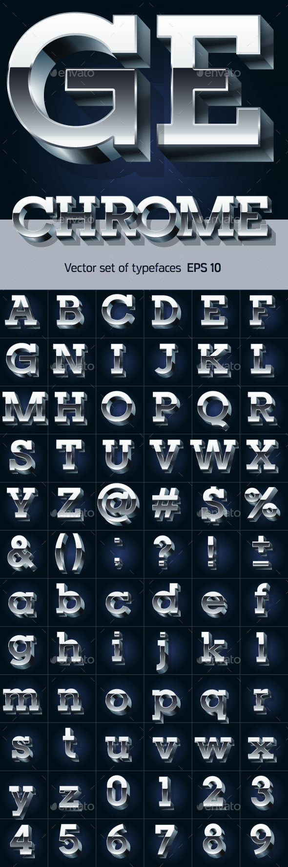 GraphicRiver 3D Chrome Alphabet 9793473