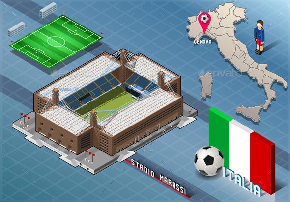 GraphicRiver Isometric Stadium Marassi Genova Italy 9793718