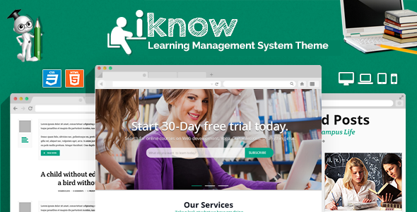 iKnow is a creatively designed Learning Management System template with a very attractive design. It comes with Learning Management System template design for s